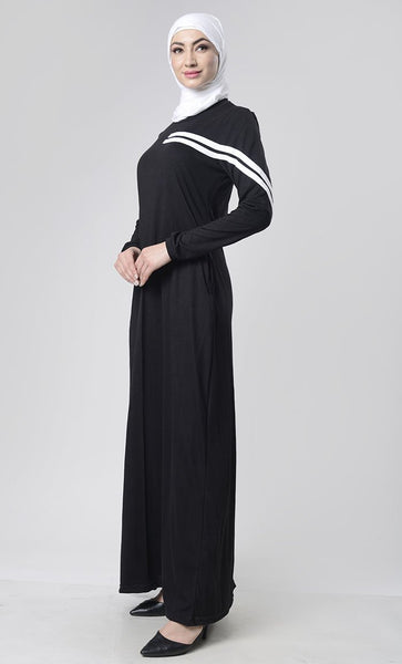 Sports Jersey Abaya With Pockets - EastEssence.com