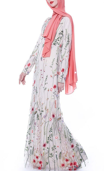 Spring Bloom Embroidered Abaya - Cream - *Size Up* - EastEssence.com