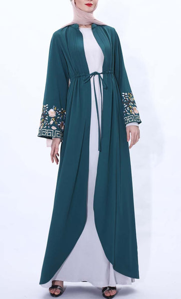 Spring Blossom Embroidered Shrug- Dark Green - *Size Up* - EastEssence.com