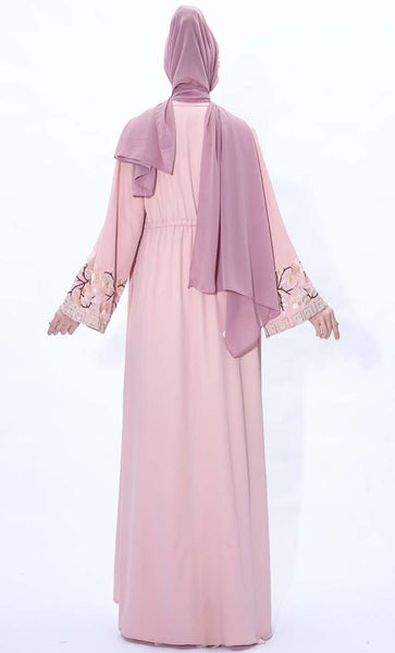 Spring Blossom Embroidered Shrug- Pink - *Size Up* - EastEssence.com