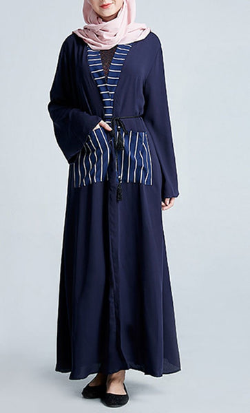 Stripe Pockets Navy Front Open Hemp Bisht/Abaya Dress - EastEssence.com