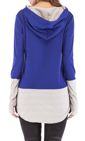 Stripe With Solid Hoodie-Blue -*Size Up* - EastEssence.com