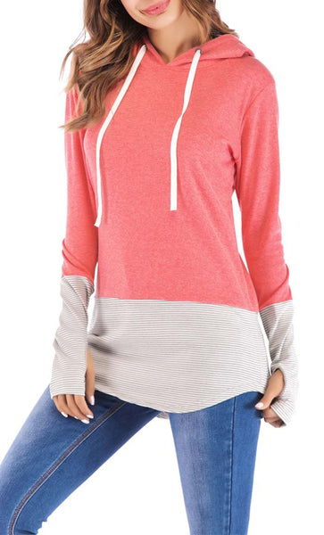 Stripe With Solid Hoodie-Watermelon Red -*Size Up* - EastEssence.com