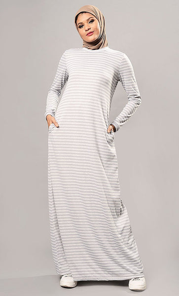 Striped A Line Abaya Dress - EastEssence.com