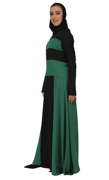 Stripes Panel And Asymmetric Flared Abaya Dres - EastEssence.com