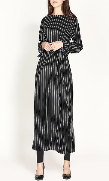 Stripes Trend Tunic Dress (Black) - *Size Up* - EastEssence.com