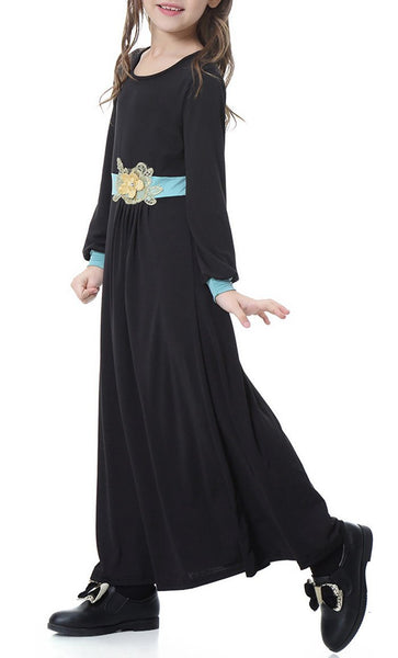 Stylish Full Sleeves Girls Abaya (Black)-*Size Up* - EastEssence.com