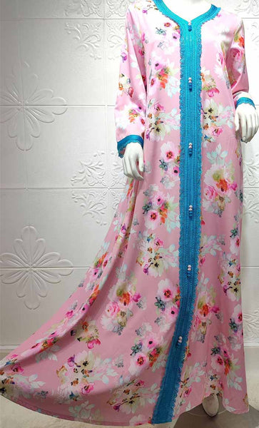 Summer Flower Printed With Contrast Lace Loose Abaya Dress- *Size Up* - EastEssence.com