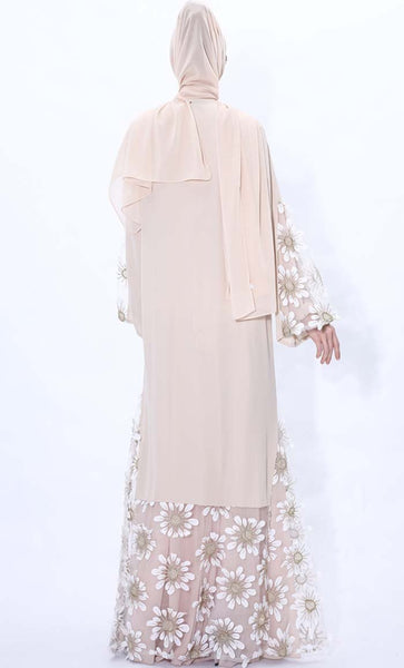 Sunflower Embroidered Abaya dress- Beige - *Size Up* - EastEssence.com