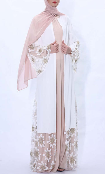 Sunflower Embroidered Abaya dress- White - *Size Up* - EastEssence.com