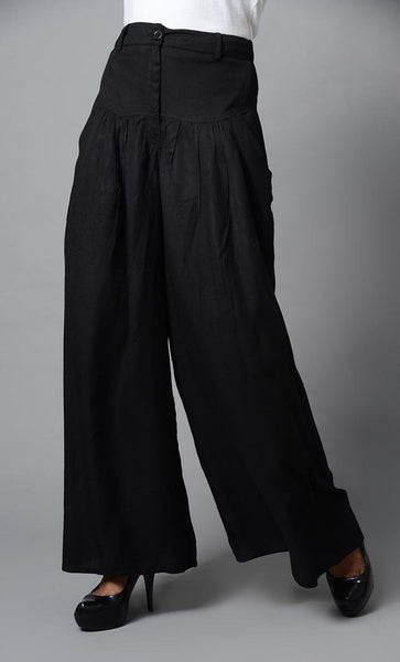 Super Comfy Buttoned Parallel Pant-Black - EastEssence.com