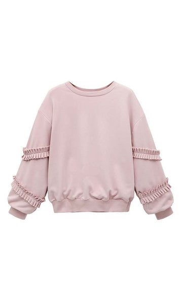 Sweet And Classy Sweatshirt - Pink - *Size Up* - EastEssence.com