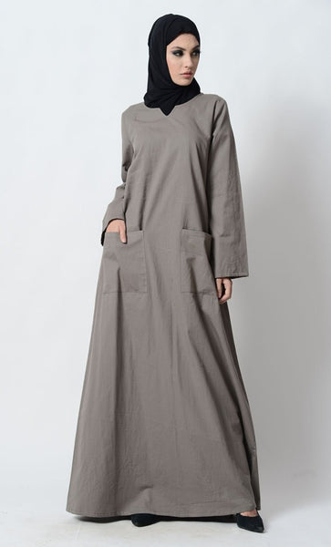 Sweetheart neckline modest wear casual abaya dress - EastEssence.com