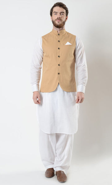 Tan Mens Cotton Shalwar Kameez Vest Set - EastEssence.com