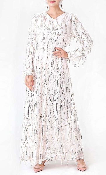 Tasseled Sequin Glam Abaya - White - *Size Up* - EastEssence.com
