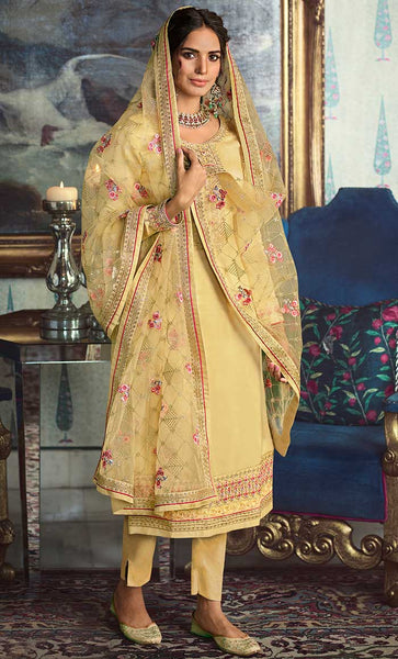 The Bright Yellow Kurta Set With Jaal Work Dupatta - EastEssence.com