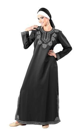 Thread Embroidered A Line Ruksana Abaya Dress - EastEssence.com