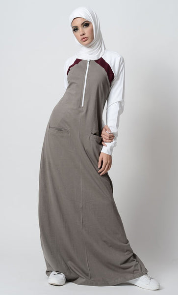 Three tone and zipper detail sportswear abaya dress - EastEssence.com