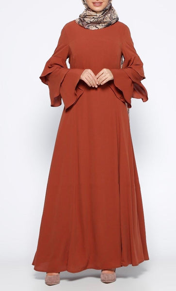 Tiered Sleeve Solid Abaya Dress - *Size Up* - EastEssence.com