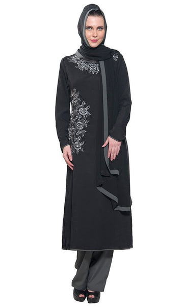 Tonal Grey Resham embroidered 3 piece Black & grey salwar kameez set - EastEssence.com