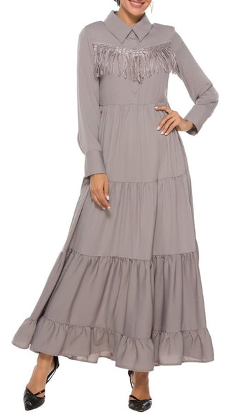 Toss Of Tassel Abaya Dress - Brown - *Size Up* - EastEssence.com