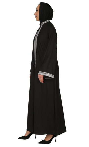 Traditional Front Zigzag Pattern Embroidered Abaya Dress - EastEssence.com