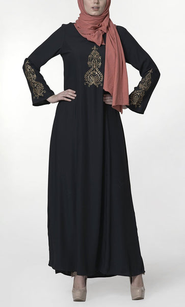 Traditional modest wear embroidered abaya dress - EastEssence.com