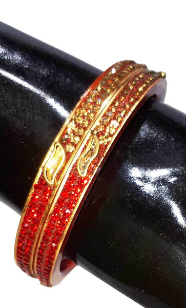Traditional seep Red Bangles set of 2-Final sale - EastEssence.com