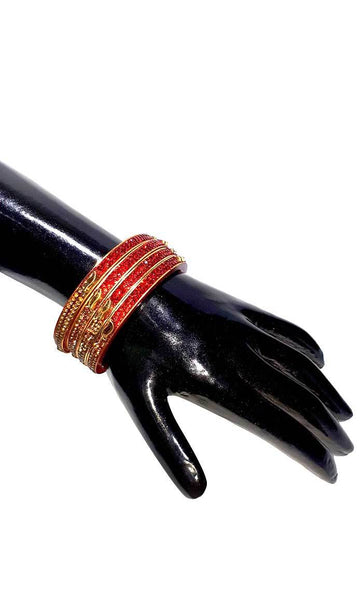 Traditional seep Red Bangles set of 4-Final sale - EastEssence.com