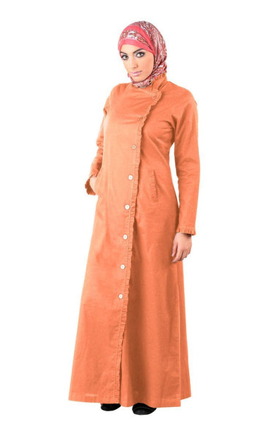 Trench Coat Style Button Down Abaya Dress - EastEssence.com