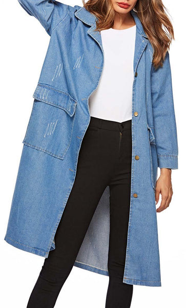 Trench Style Denim Jacket-Light Blue - EastEssence.com