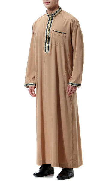 Trendy Everyday Full Sleeves Men's Thobe (Camel)-*Size Up* - EastEssence.com