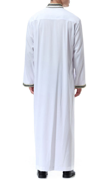 Trendy Everyday Full Sleeves Men's Thobe (White)-*Size Up* - EastEssence.com
