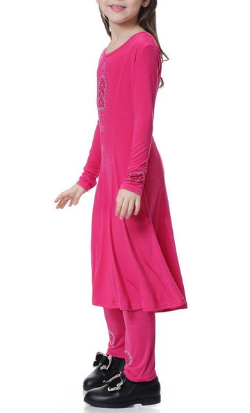 Trendy Full Sleeves Girls 2pc Set (Rose Red)-*Size Up* - EastEssence.com