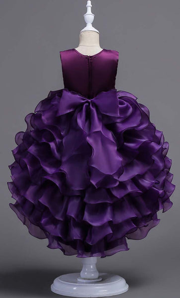 Trendy Layered Girl's Dress (Purple)-*Size Up* - EastEssence.com