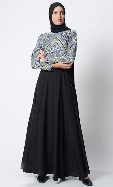 Trendy Printed Everyday Abaya-Blue - EastEssence.com