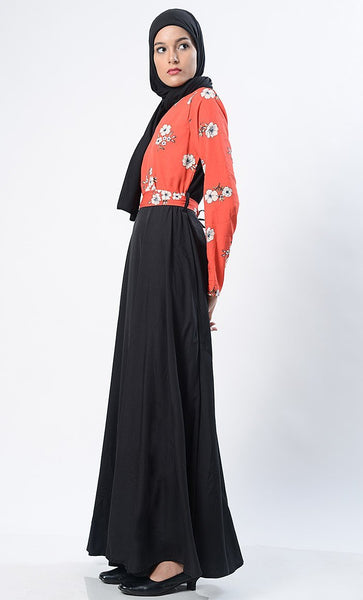 Trendy Printed Everyday Abaya-Red - EastEssence.com