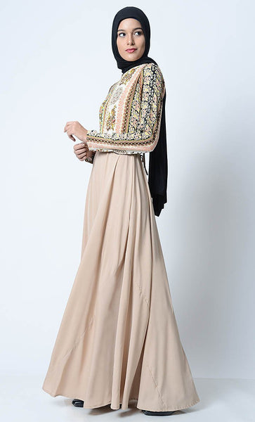 Trendy Printed Everyday Abaya-Sand - EastEssence.com
