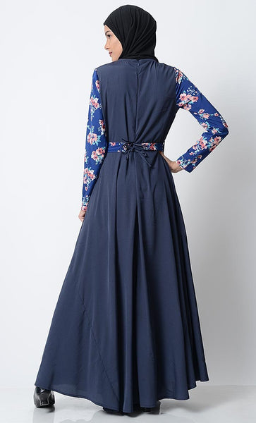 Trendy Printed Everyday Abaya-Sky Blue - EastEssence.com