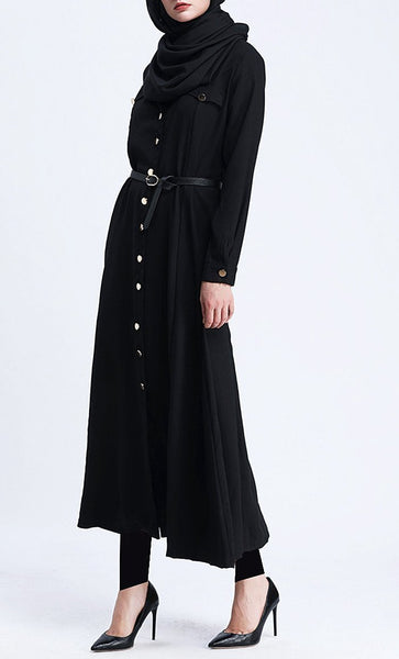 Trendy Solid Button Down Tunic (Black) - *Size Up* - EastEssence.com