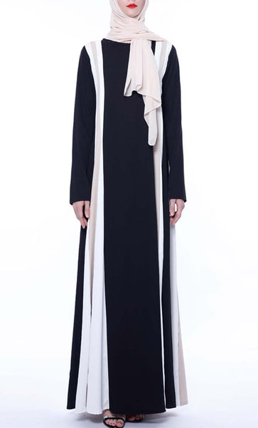 Tri Color Earthy Color Abaya - Black - *Size Up* - EastEssence.com