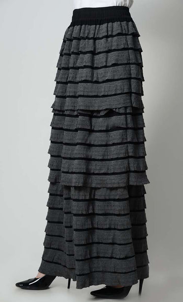 Triple Tier Stylish Skirt-Grey - EastEssence.com