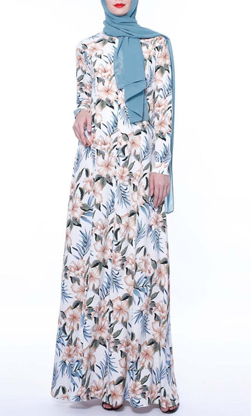 Tropical Overall Printed Abaya - Light Grey - *Size Up* - EastEssence.com