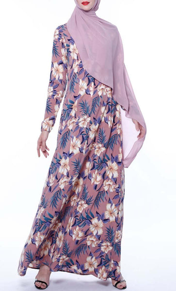 Tropical Overall Printed Abaya - Violet Pink - *Size Up* - EastEssence.com