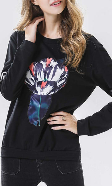 Tulip Digital Printed Sweatshirt - Black - *Size Up* - EastEssence.com