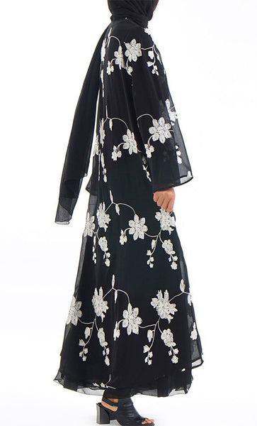 Turkey Style Lace Single Layer Black Kimono Bisht - EastEssence.com