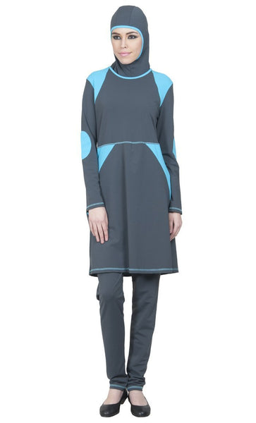 Turquoise Blue Accents Front Zipper Swimwear Burkini Three Piece Set - EastEssence.com