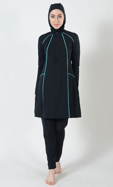 Turquoise Blue Trims Detail Swimwear Burkini Three Piece Set - EastEssence.com
