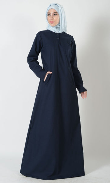 Twinned Button A Line Hajj Umrah Abaya Dress - EastEssence.com