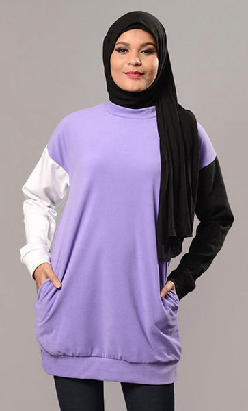 Two Color Contrast Sleeves Long T Shirt - EastEssence.com